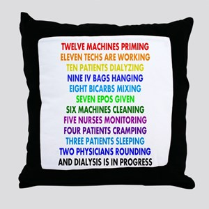 DIALYSIS 12 DAYS OF CHRISTMAS Throw Pillow