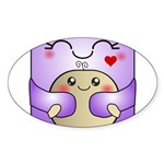Kawaii Mother and Child Cute Hug Sticker (Oval)