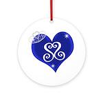 Sapphire Sweetheart Heart Logo Ornament (Round)
