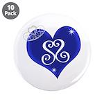 """Sapphire Sweetheart Heart Logo 3.5"""" Button (1"""