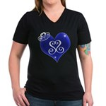 Sapphire Sweetheart Heart Logo Women's V-Neck Dark