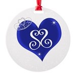 Sapphire Sweetheart Heart Logo Round Ornament