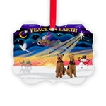 XmasSunrise/2 Airedales Picture Ornament