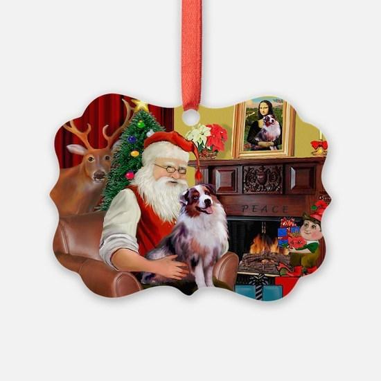 Santa's Aussie (#1) Picture Ornament