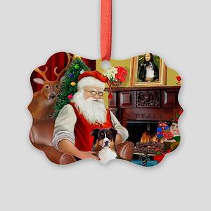 Santa's Tri Aussie (#7) Picture Ornament