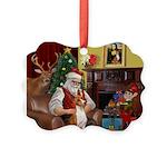 Santa's Basenji (#2) Picture Ornament