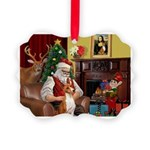 Santa's Basenji (#2) Picture Ornament