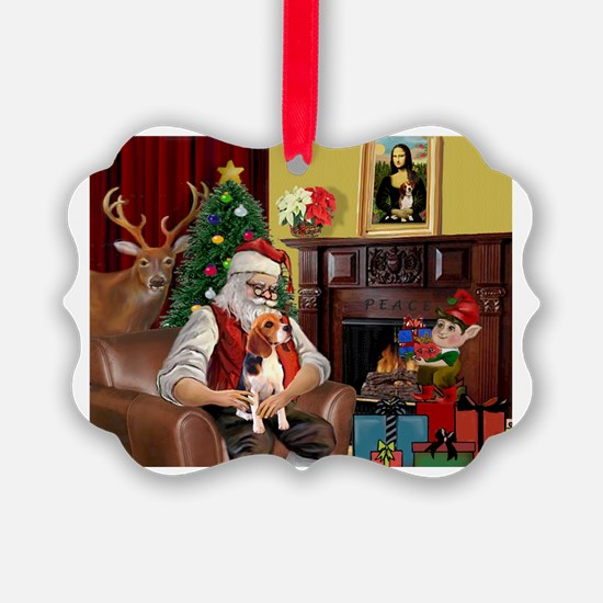 Santa's Beagle Ornament
