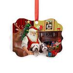 Santa's Beardie pair Picture Ornament