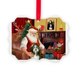 Santa's Bearded Collie Picture Ornament