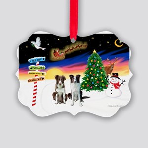 XmasSigns/2 Border Collies Picture Ornament