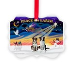 XmasSunrise/2 Border Collies Picture Ornament