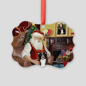 Santa's Border Collie Picture Ornament