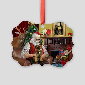 Santa's Border Terrier Picture Ornament