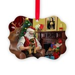 Santa's Border Terrier Picture Ornament