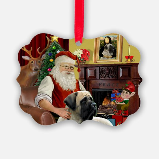 Santa's Bull Mastiff Ornament