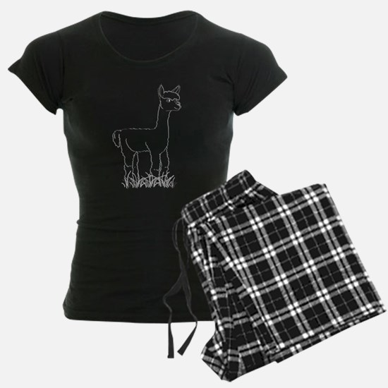 Adorable Alpaca White Outline Pajamas