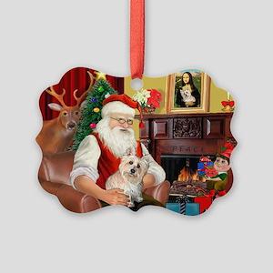 Santa's Cairn Terrier Picture Ornament