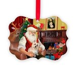 Santa's Cairn Terrier Picture Ornament