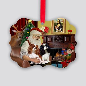 Santa's 2 Cavaliers Picture Ornament