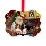Santa's 2 Cavaliers Picture Ornament