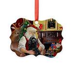 Santa's Black Cocker Picture Ornament