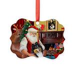 Santa's Collie (t) Picture Ornament