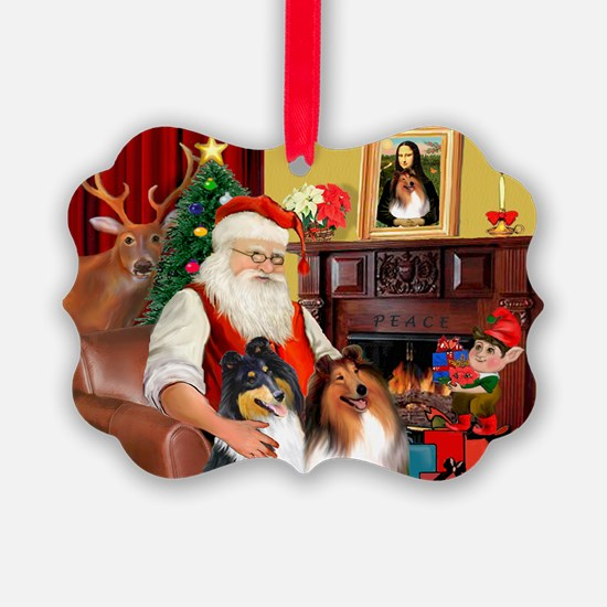 Santa's Collie pair Ornament