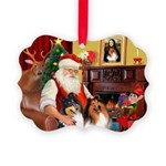 Santa's Collie pair Picture Ornament
