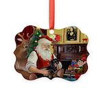 Santa's Dachshund (bt) Picture Ornament
