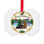 XmasMusic1/2 Dachshunds Picture Ornament