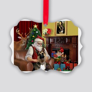 Santa's G-Shepherd (#2) Picture Ornament