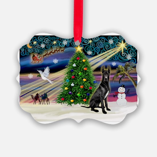 XmasMagic/Black Dane Ornament