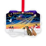 XmasSunrise/3 Greyhounds Picture Ornament