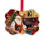 Santa's Greyhound pair Picture Ornament