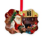 Santa's Greyhound Picture Ornament