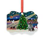 Xmas Magic & Keeshond Picture Ornament
