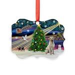 Xmas Magic & Yelow Lab Picture Ornament