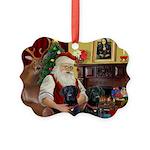 Santa's 2 Black Labs Picture Ornament