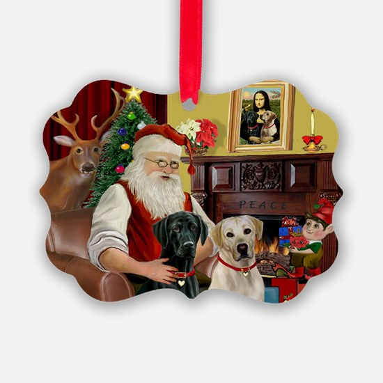 Santa's 2 Labs (Y+B) Ornament