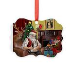 Santa's Lhasa Apso Picture Ornament