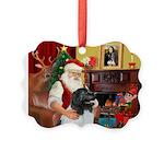 Santa's Newfie (L) Picture Ornament