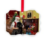 Santa's Newfie Picture Ornament
