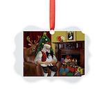 Santa's Papillon Picture Ornament
