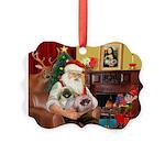 Santa's 2 Pekingese Picture Ornament