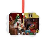 Santa's Petit Basset Picture Ornament