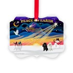 XmasSunrise/2 Poodles Picture Ornament
