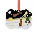 Night Flight/Std Poodle (blk) Picture Ornament
