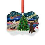 XmasMagic/ Std Poodle Picture Ornament