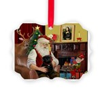 Santa's Black Pug Picture Ornament